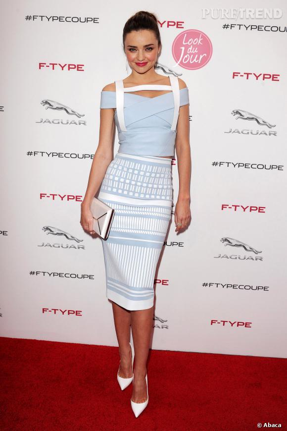 Miranda Kerr mise sur une tenue David Koma pour la soirée Jaguar de présentation de la F-TYPE R Coupé.