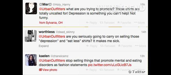 Urban Outfitters a reçu de nombreux critiques sur Twitter.