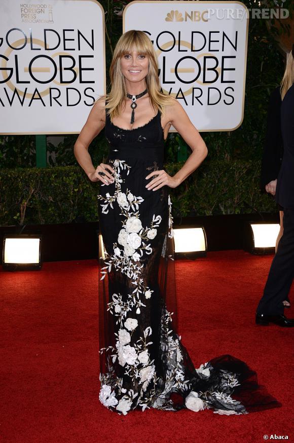 """Le flop """"motif floral black & white"""" :  Heidi Klum a tout simplement tout faux."""