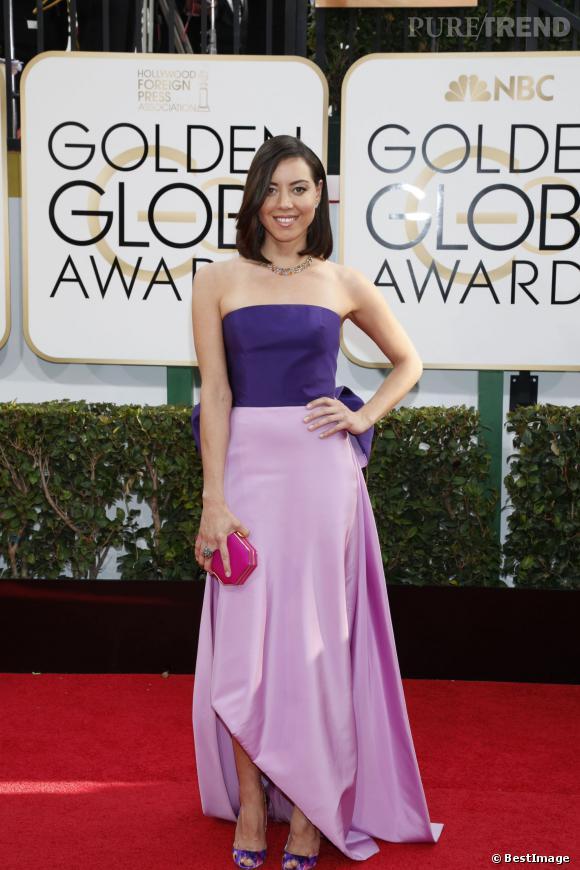 """Le flop """"bicolore"""" :  Audrey Plaza ou comment avoir l'air tarte aux Golden Globes."""
