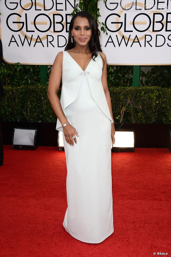 Kerry Washington à la cérémonie des Golden Globes 2014, en robe Balenciaga.