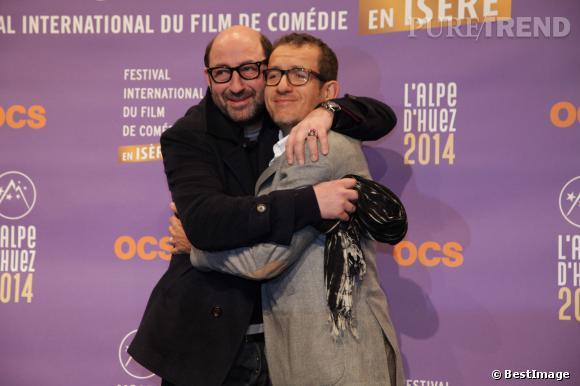 Dany Boon et Kad Merad se montrent plus complices que jamais au 17e Festival Internation du film de comédie à l'Alpe d'Huez, le 15 janvier 2014.