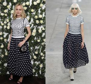 Diane Kruger VS le podium : l'ensemble noir et blanc à noeuds Chanel