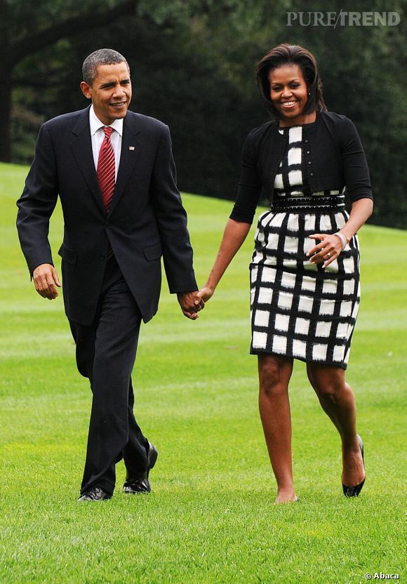 Michelle Obama en noir et blanc.