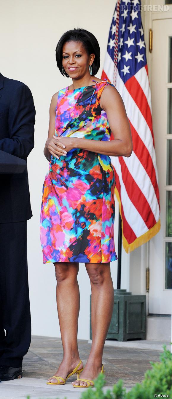Michelle Obama en robe Thakoon Panichgul, son créateur fétiche.