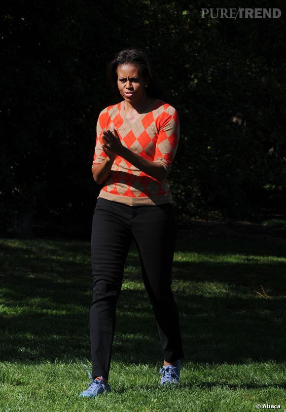 Michelle Obama aime le motif jacquard.