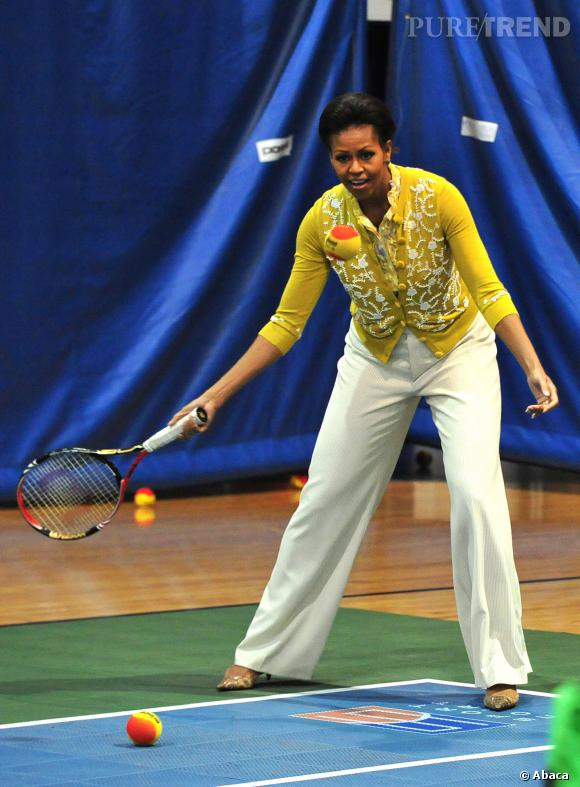 Toujours chic Michelle Obama, même lors d'une partie de tenis.
