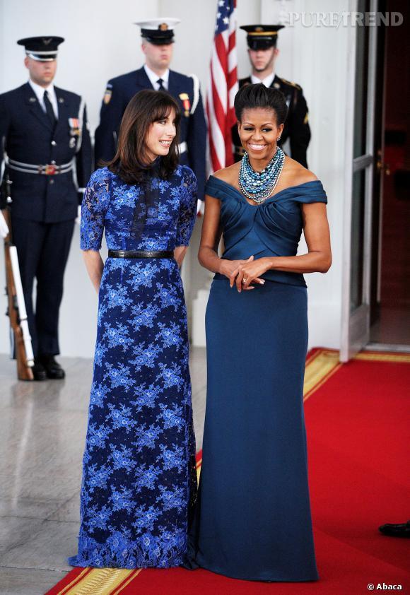 Michelle Obama dans une robe Marchesa.