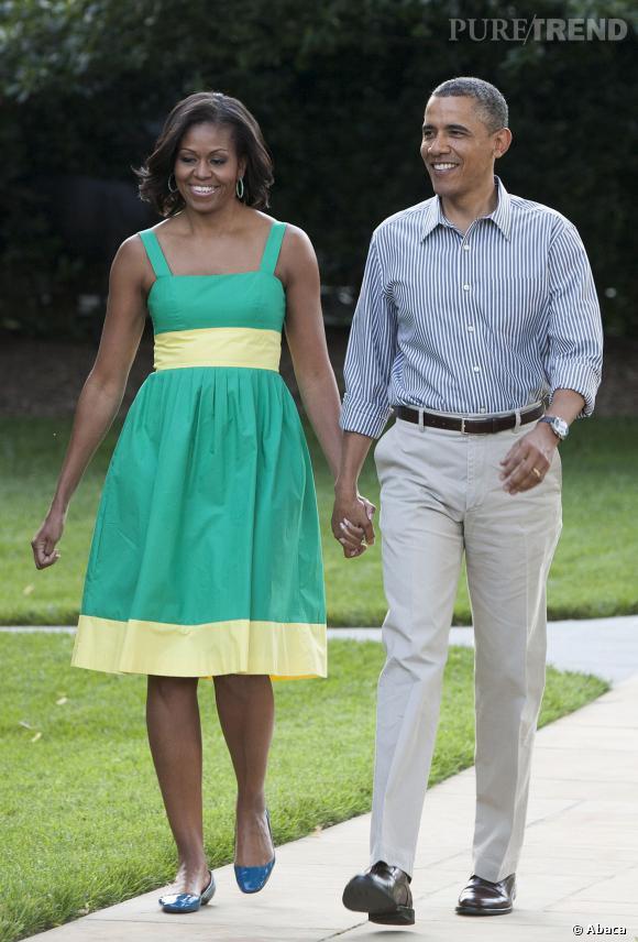 Michelle Obama et sa jolie petite robe verte et jaune. Un look très babydoll.
