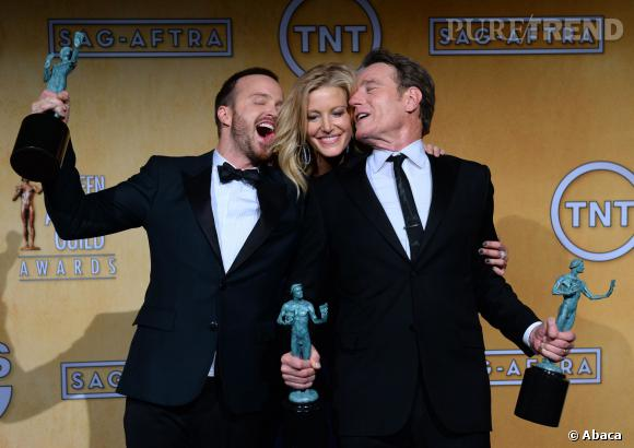 Aaron Paul, Anna Gunn et Bryan Cranston aux SAG Awards 2014.