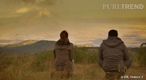 """Mélissa Theuriau accompagne Frédéric Lopez pour un nouvel épisode de """"Rendez-vous en Terre Inconnue"""" chez les Maasaï."""