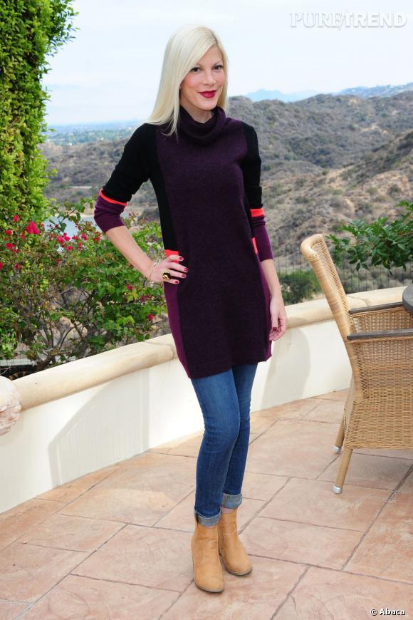 Tori Spelling en décembre 2013 pour promouvoir son nouveau site web.
