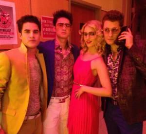 """Darren Criss, Harry Shum Jr., Dianna Agron et Matthew Morrison pour le 100ème épisode de """"Glee""""."""