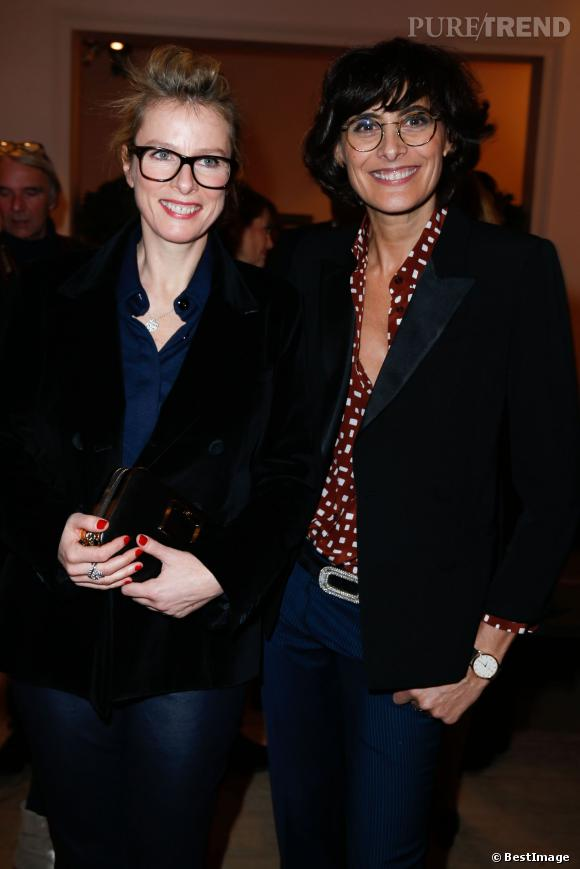 """Karin Viard et Inès de la Fressange chez Roger Vivier mardi 4 février pour le lancement du livre """"Le Paris du Tout-Paris"""" d'Alexandra Senes."""