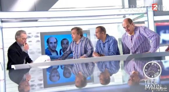 Didier Bourdon, Pascal Légitimus et Bernard Campan arrivent en pyjama sur le plateau de Télématin.