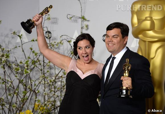 """Kristen Anderson-Lopez et Robert Lopez remportent l'Oscar de la Meilleure chanson originale pour """"Let It Go"""" de """"La Reine des Neiges""""."""