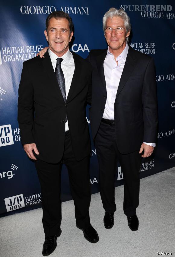 Richard Gere, 64 ans, à côté de Mel Gibson qui passera la barre des 60 ans dans deux ans...
