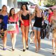 """Aurélie van Daelen lors du tournage des """"Anges de la télé-réalité"""" à Miami."""