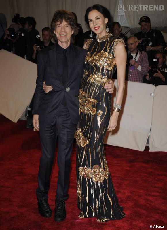 Mick Jagger etL'Wren Scott au Costume Institute Gala en hommage à Alexander McQueen en 2011.