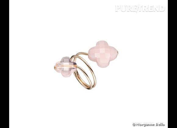 """Morganne Bello     Bague """"Friandise Duo"""" en or, quartz rose et opale rose, 540€."""