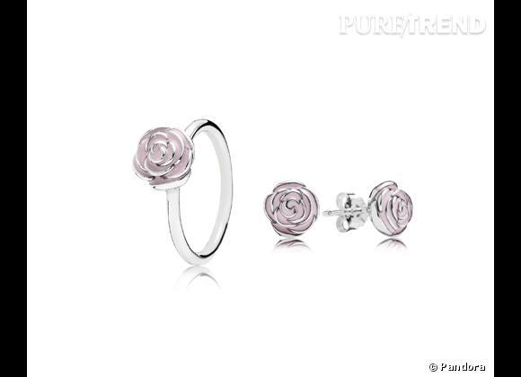 Pandora     Bague et boucles d'oreilles en argent et émail rose, 49€ chaque.