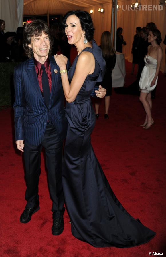 Mick Jagger et L'Wren Scott en 2012 lors du Costume Institute Gala à New York.