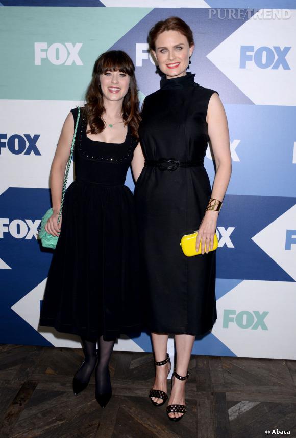 Zooey Deschanel et sa grande soeur Emily Deschanel lors d'une soirée Fox.
