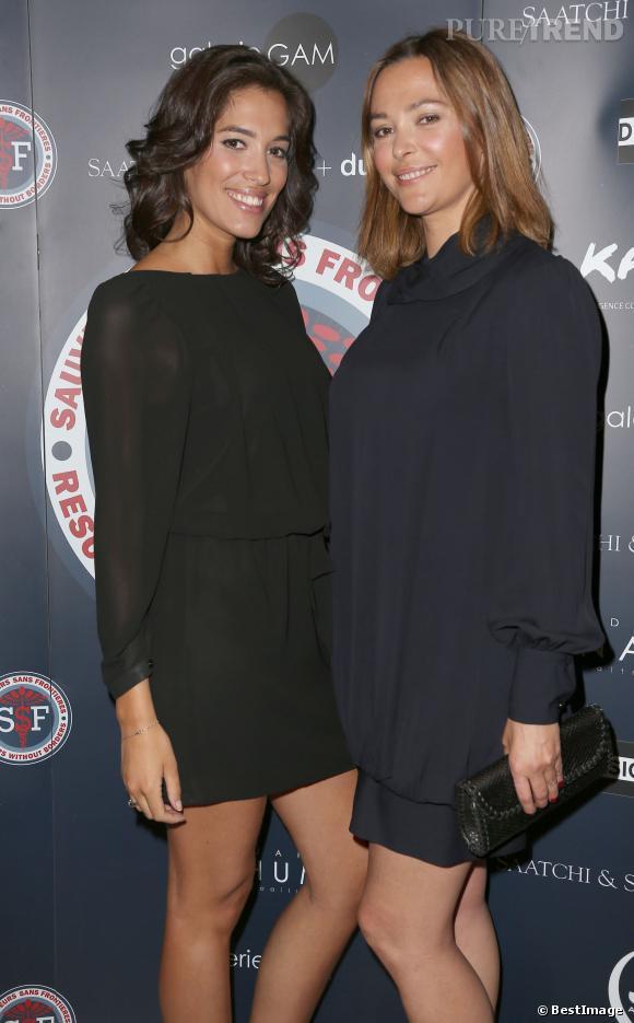 """Sandrine Quétier et Laurie Chowela, un duo de choc et de charme pour la soirée de gala """"Sauveteurs Sans Frontières"""", à Paris, le 31 mars 2014."""