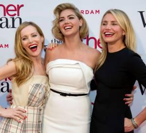 """Leslie Mann, Kate Upton et Cameron Diaz lors de la première du film """"The Other woman"""" à Amsterdam en avril 2014."""
