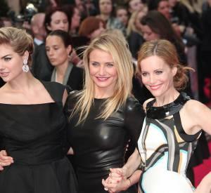 """Kate Upton, Cameron Diaz et Leslie Mann lors de la première du film """"The Other woman"""" à Londres en avril 2014."""