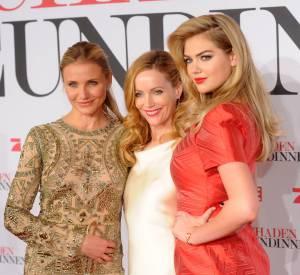 """Cameron Diaz, Leslie Mann et Kate Upton lors de la première du film """"The Other woman"""" à Munich en avril 2014."""