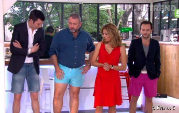 Claire Barsacq a invité les hommes de l'émission à revêtir un short à leur tour.