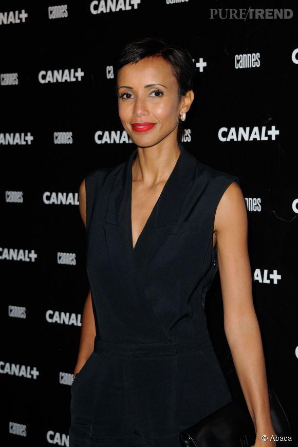Sonia Rolland, terriblement élégante dans une combinaison noire et rouge à lèvre glamour pour la soirée Canal + pour ce Festival de Cannes 2014, le 16 mai 2014.
