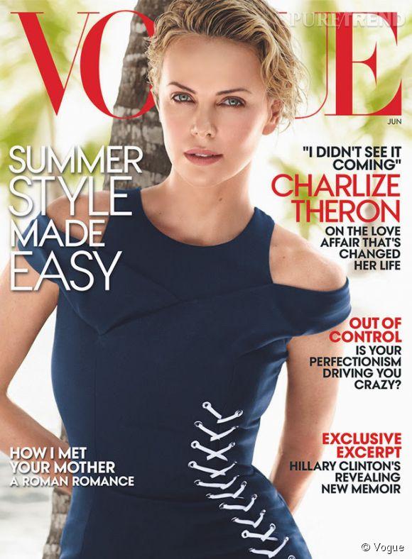 Charlize Theron en ouverture de Vogue US du mois de juin 2014.