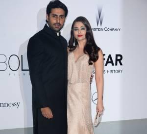 Aishwarya Rai en Armani Privé et son époux au gala de l'amfAR à l'Hôtel du Cap le 22 mai 2014.
