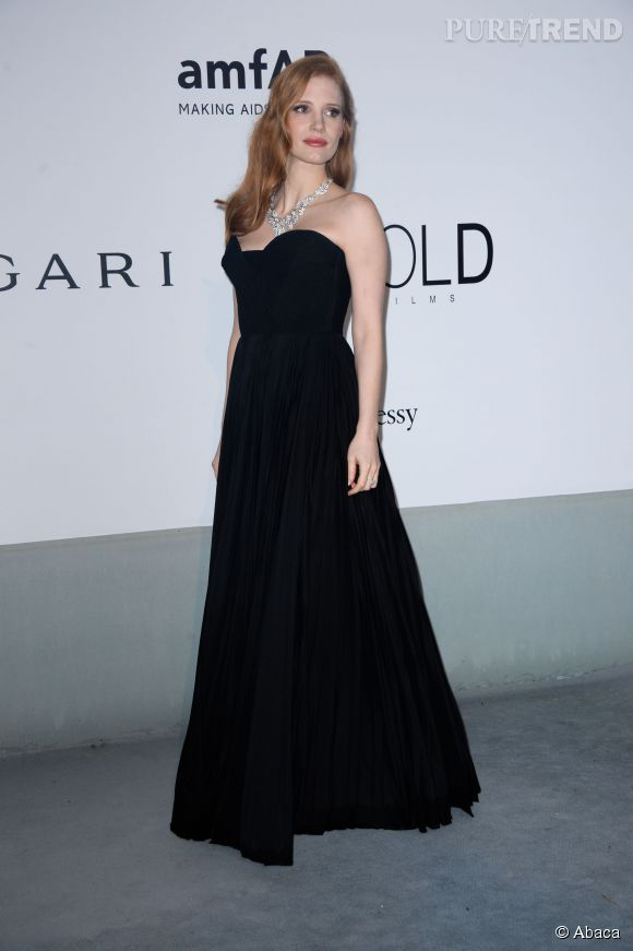 Jessica Chastain en Givenchy Haute Couture au gala de l'amfAR à l'Hôtel du Cap le 22 mai 2014.
