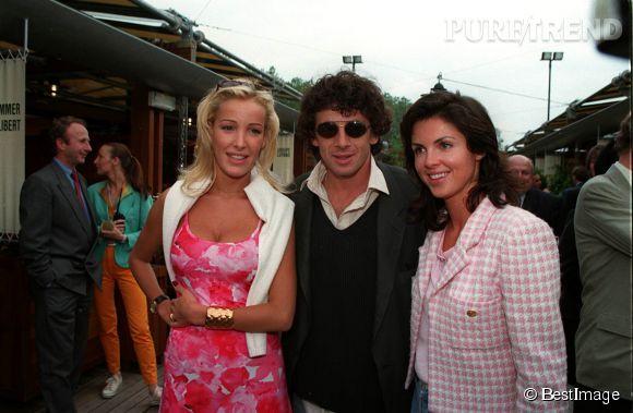 Ophélie Winter avec Patrick Bruel et Caroline Barclay à Roland Garros en juin 1995.