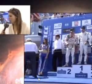 Laury Thilleman, lors de son interview du pilote Yvan Muller, ce week-end lors du Championnat du monde WTCC.