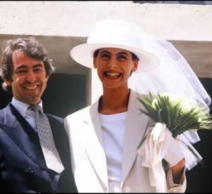 Inès de La Fressange et Luigi d'Urso le jour de leur mariage en juin 1990.