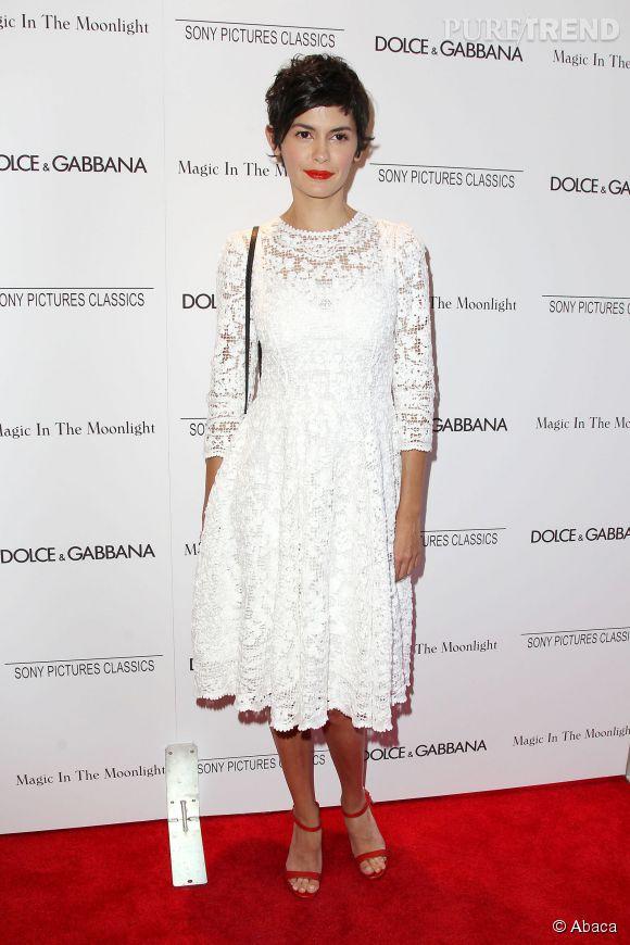"""Audrey Tautou glamour à l'after party de la première de """"Magic in The Moonlight"""" le 17 juillet 2014 à New York."""