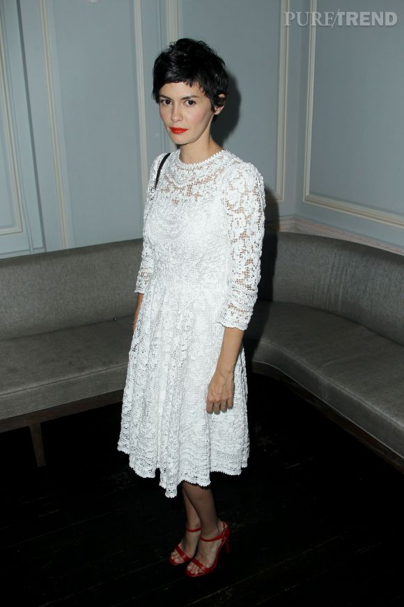 "Audrey Tautou glamour et rétro à l'after party de la première de ""Magic in The Moonlight"" de Woody Allen le 17 juillet 2014 à New York."