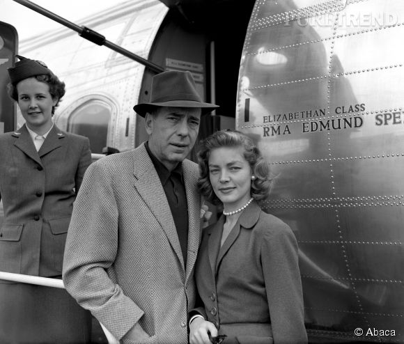 """Lauren Bacall et Humphrey Bogart en 1953. Les acteurs se sont rencontrés sur le tournage du """"Port de l'angoisse"""", en 1944. Un an plus tard, il quittait sa femme pour l'épouser."""