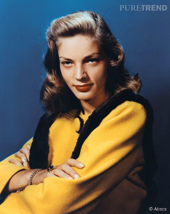 """Lauren Bacall en 1950 (et en couleurs). """"The Look"""" et son regard pénétrant, devenu légendaire."""