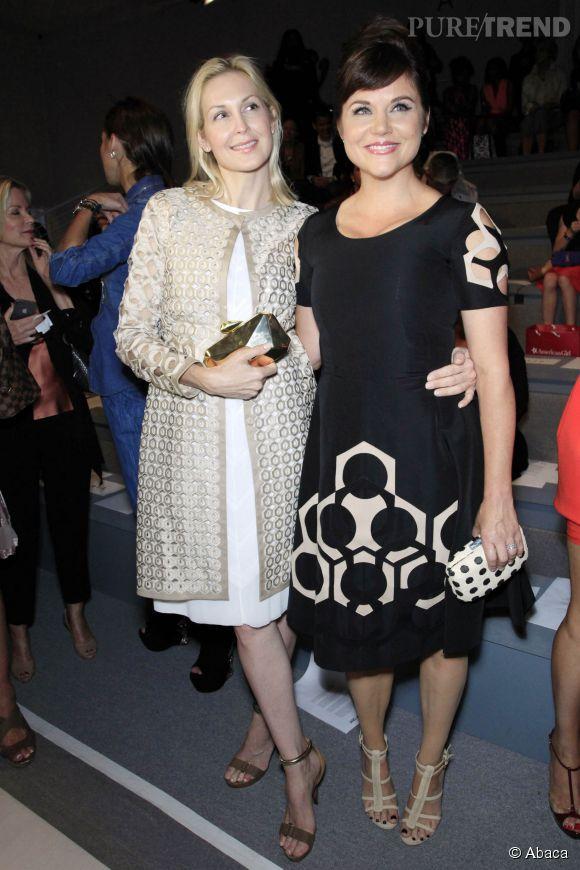 Tiffani Thiessen et Kelly Rutherford lors de la Fashion Week de septembre 2013.