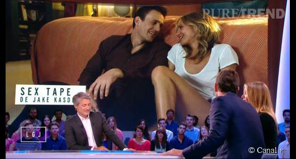 """Antoine de Caunes, humour grivois face à ses invités Cameron Diaz et Jason Segel venus pour la promotion du film """"Sex Tape""""."""