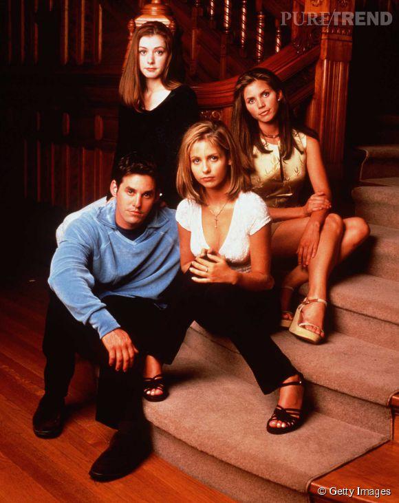Charisma Carpenter et la team Buffy en 1997.