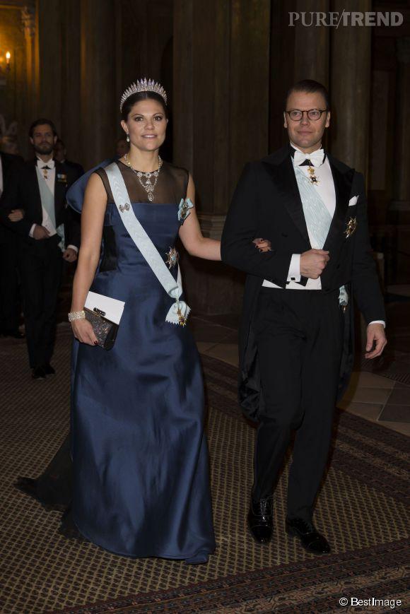 La princesse Victoria de Suède lors du dîner donné en l'honneur des lauréats du Prix Nobel 2014 le 12 décembre 2014 à Stockholm.