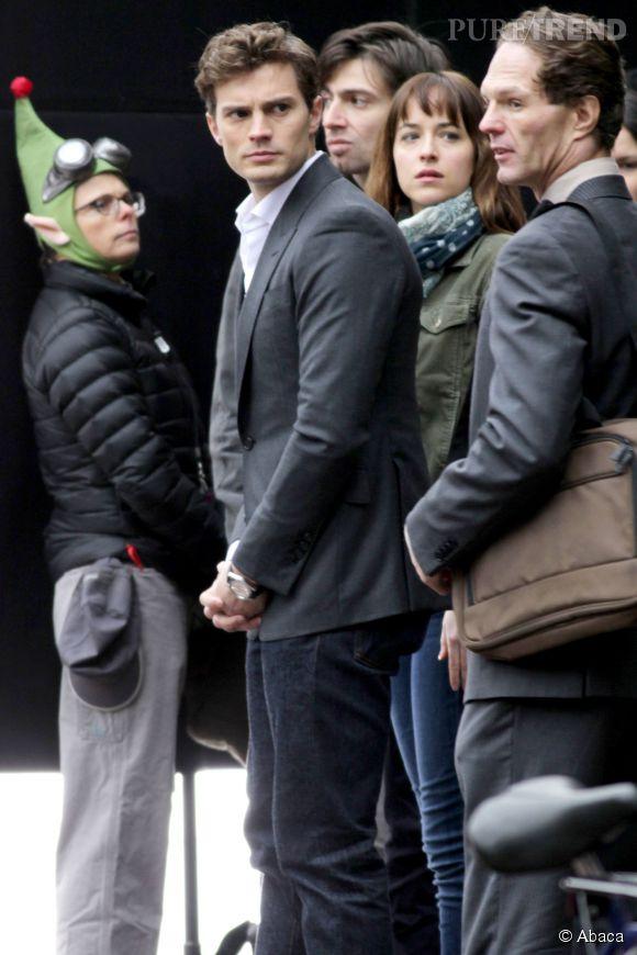 """Jamie Dornan sur le tournage de """"50 Shades of Grey""""."""