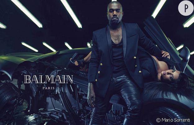 Kim Kardashian et Kanye West, égéries de la nouvelle campagne Balmain Homme Printemps-Été 2015.