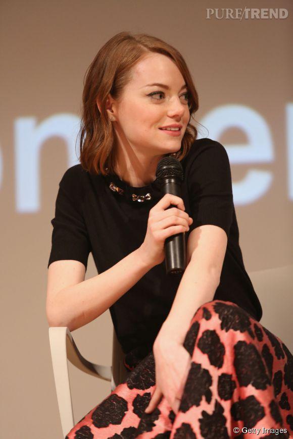 """Emma Stone lors des SAG Foundation Conversations pour le film """"Birdman"""" organisées à la New School à New York le 5 janvier 2015."""